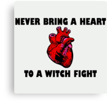 Witch Fight Heart in Black Canvas Print
