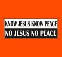 KNOW JESUS KNOW PEACE black n white Kids Clothes