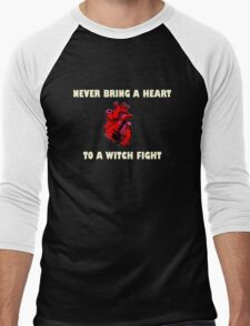 Witch Fight Heart in White Men's Baseball ¾ T-Shirt