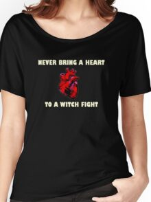 Witch Fight Heart in White Women's Relaxed Fit T-Shirt