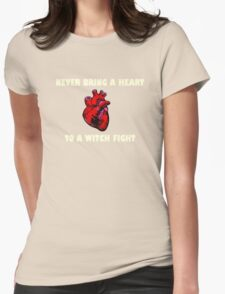 Witch Fight Heart in White Womens Fitted T-Shirt