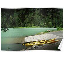 Yellow Kayaks at Chilkoot Lake - Haines Alaska Poster