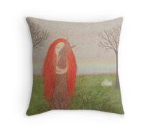 Animals Spirit: Girl with Fox Rabbits and Bird Throw Pillow