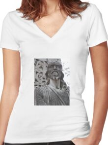 Jesus at The Pearly Gates Women's Fitted V-Neck T-Shirt