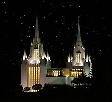 San Diego Temple Starry Night 20x30 by Ken Fortie