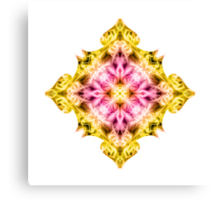 """Spirit of India: Cross Fleur Diamond"" in purple, rose and yellow Canvas Print"