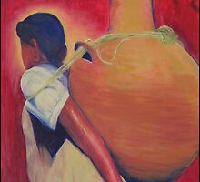 Woman carrying water by ArtPazBiz