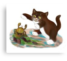 Touché says kitten to the Crab Canvas Print