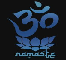 Namaste Symbol with Lotus Flower (blue version) by robotface