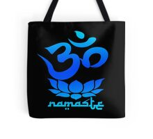 Namaste Symbol with Lotus Flower (blue version) Tote Bag