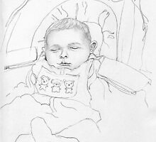Portrait of my 2 months old nephew Guiseppe, pencil (3B) on sketch paper, 21 x 29,7 cm, 2002 by Franko Camue