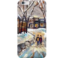 CANADIAN URBAN SCENE PAINTINGS MONTREAL AFTER THE SNOWSTORM ORIGINAL PAINTING FOR SALE iPhone Case/Skin