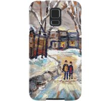 CANADIAN URBAN SCENE PAINTINGS MONTREAL AFTER THE SNOWSTORM ORIGINAL PAINTING FOR SALE Samsung Galaxy Case/Skin