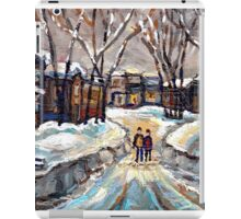 CANADIAN URBAN SCENE PAINTINGS MONTREAL AFTER THE SNOWSTORM ORIGINAL PAINTING FOR SALE iPad Case/Skin
