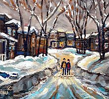CANADIAN URBAN SCENE PAINTINGS MONTREAL AFTER THE SNOWSTORM ORIGINAL PAINTING FOR SALE by Carole  Spandau