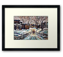 CANADIAN URBAN SCENE PAINTINGS MONTREAL AFTER THE SNOWSTORM ORIGINAL PAINTING FOR SALE Framed Print