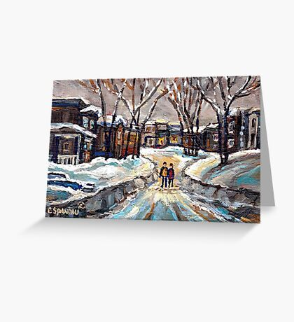 CANADIAN URBAN SCENE PAINTINGS MONTREAL AFTER THE SNOWSTORM ORIGINAL PAINTING FOR SALE Greeting Card