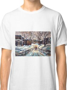 CANADIAN URBAN SCENE PAINTINGS MONTREAL AFTER THE SNOWSTORM ORIGINAL PAINTING FOR SALE Classic T-Shirt