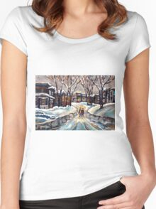 CANADIAN URBAN SCENE PAINTINGS MONTREAL AFTER THE SNOWSTORM ORIGINAL PAINTING FOR SALE Women's Fitted Scoop T-Shirt