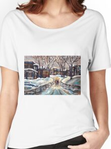 CANADIAN URBAN SCENE PAINTINGS MONTREAL AFTER THE SNOWSTORM ORIGINAL PAINTING FOR SALE Women's Relaxed Fit T-Shirt
