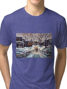 CANADIAN URBAN SCENE PAINTINGS MONTREAL AFTER THE SNOWSTORM ORIGINAL PAINTING FOR SALE Tri-blend T-Shirt