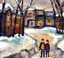 CANADIAN URBAN SCENE PAINTINGS MONTREAL AFTER THE SNOWSTORM ORIGINAL PAINTING FOR SALE Sticker