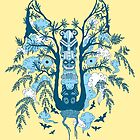 Psychedelic plants and totem wolf by Andrei Verner