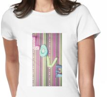 LOVE on stripey design paper Womens Fitted T-Shirt