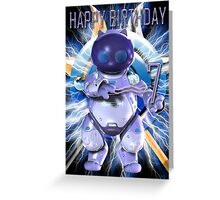 7th Birthday Card with Robo Cat Greeting Card