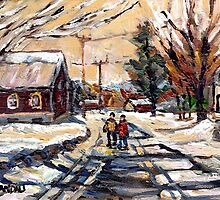 BEST ORIGINAL QUEBEC PAINTINGS WINTER WALK IN THE COUNTRY by Carole  Spandau