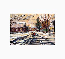 BEST ORIGINAL QUEBEC PAINTINGS WINTER WALK IN THE COUNTRY Unisex T-Shirt