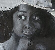 Little Black Girl Looking Through Window by Chelsea Leichter