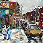 BEST AUTHENTIC MONTREAL ORIGINAL ART BOULANGERIE ST.VIATEUR BAGEL CANADIAN WINTER PAINTINGS by Carole  Spandau
