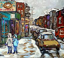BEST AUTHENTIC MONTREAL ORIGINAL ART BOULANGERIE ST.VIATEUR BAGEL CANADIAN WINTER PAINTINGS by Carole  Spandau