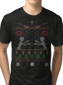 UGLY BUFFY CHRISTMAS SWEATER Tri-blend T-Shirt