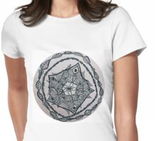Black ink doodled flower with fine liner.  Womens Fitted T-Shirt