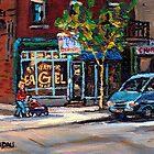 BEST AUTHENTIC ORIGINAL MONTREAL ART RUE ST.VIATEUR BOULANGERIE ST.VIATEUR  MONTREAL CITY SCENES by Carole  Spandau