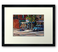 BEST AUTHENTIC ORIGINAL MONTREAL ART RUE ST.VIATEUR BOULANGERIE ST.VIATEUR  MONTREAL CITY SCENES Framed Print