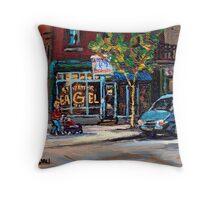 BEST AUTHENTIC ORIGINAL MONTREAL ART RUE ST.VIATEUR BOULANGERIE ST.VIATEUR  MONTREAL CITY SCENES Throw Pillow