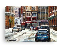 BEST AUTHENTIC ORIGINAL DOWNTOWN MONTREAL PAINTINGS RUE STANLEY CANADIAN ART Canvas Print