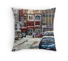 BEST AUTHENTIC ORIGINAL DOWNTOWN MONTREAL PAINTINGS RUE STANLEY CANADIAN ART Throw Pillow