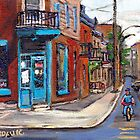 BEST CANADIAN ORIGINAL MONTREAL PAINTINGS RUE FAIRMOUNT AND CLARK WILENSKY CORNER DELI QUEBEC  by Carole  Spandau