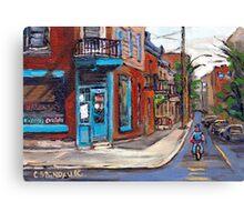 BEST CANADIAN ORIGINAL MONTREAL PAINTINGS RUE FAIRMOUNT AND CLARK WILENSKY CORNER DELI QUEBEC  Canvas Print