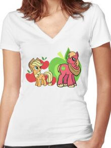 apple jack and big mac Women's Fitted V-Neck T-Shirt