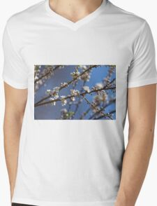 Plum blossom in the sky spring confirmation Mens V-Neck T-Shirt