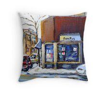 MONTREAL MEMORIES EXCEPTIONAL CANADA ART BEAUTY'S RESTAURANT RUE ST.URBAIN BEST MONTREAL ART Throw Pillow