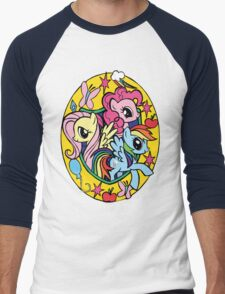 pinkie pie, fluttershy and rainbow dash Men's Baseball ¾ T-Shirt