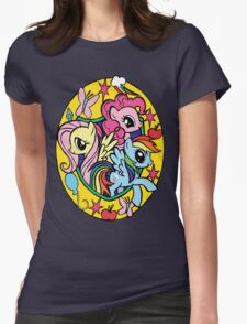 pinkie pie, fluttershy and rainbow dash Womens Fitted T-Shirt