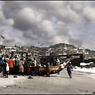Gathered Around the Boat in Cape Coast Ghana by Wayne King