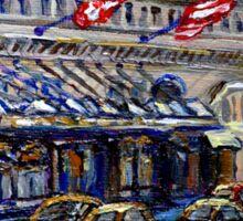Rue Sherbrooke Best Canadian Original Art For Sale Ritz Carlton Paintings  Montreal Street Scenes Sticker